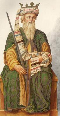 Миниатюра из Испанской королевской библиотеки. Король Альфонсо I (739 г.)