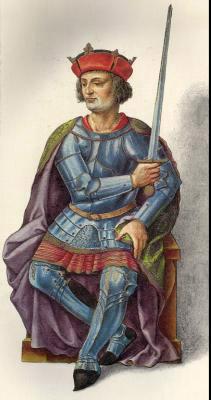 Миниатюра из Испанской королевской библиотеки. Король Альфонсо III (866 г.)