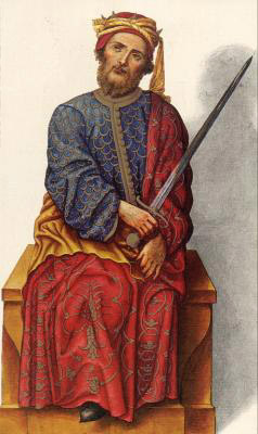 Миниатюра из Испанской королевской библиотеки. Король Фруела I (757 г.)