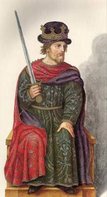 Миниатюра из Испанской королевской библиотеки. Король Гарсия I (910 г.).