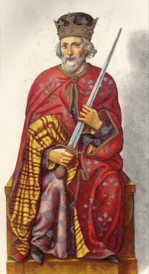 Миниатюра из Испанской королевской библиотеки. Король Рамиро I (842 г.)